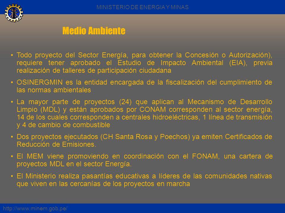 Medio Ambiente http://www.minem.gob.pe/ Todo proyecto del Sector Energía, para obtener la Concesión o Autorización), requiere tener aprobado el Estudi