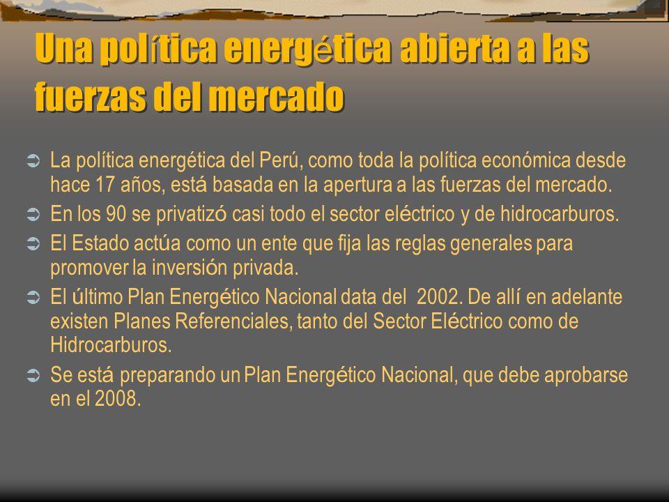 Eficiencia Energética http://www.minem.gob.pe/ Se ha aprobado el Reglamento de la Ley de Eficiencia Energética (DS 053- 2007-EM) El MEM ha reiniciado con mayor énfasis el proceso de Normalización del uso eficiente de la energía (iluminación, motores eficientes, calderos industriales, calentadores de agua, sistemas solares y refrigeración), aparte de continuar las campañas con el sector Educación El MEM continúa trabajando en la formación de las Empresas de Servicios Energéticos (ESCOS por sus siglas en inglés), con la asistencia del BID El Perú participa en el Programa Andino de Normalización y Etiquetado en Eficiencia Energética (CAF-GEF-PNUD) MINISTERIO DE ENERGIA Y MINAS