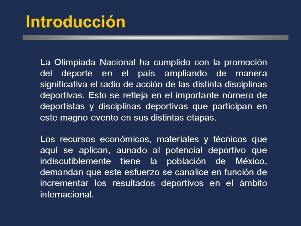 Introducción La Olimpiada Nacional ha cumplido con la promoción del deporte en el país ampliando de manera significativa el radio de acción de las distinta disciplinas deportivas.