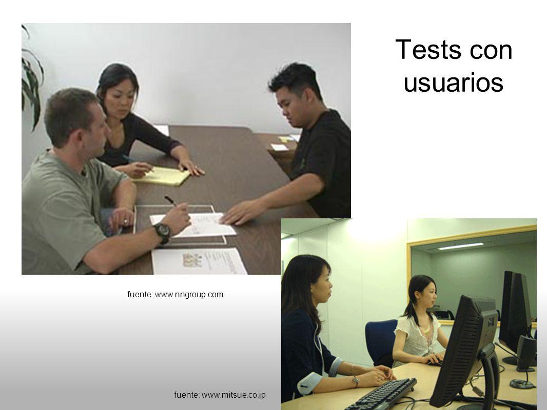 fuente: www.nngroup.com fuente: www.mitsue.co.jp Tests con usuarios