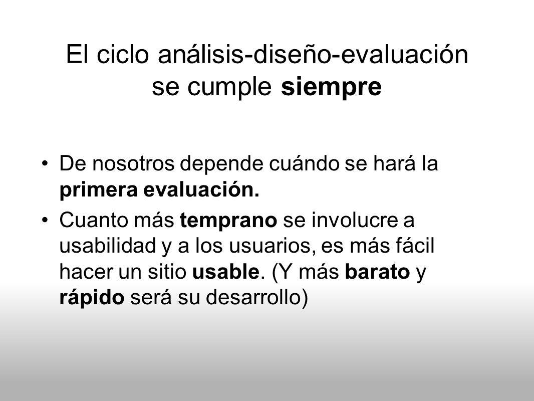 El ciclo análisis-diseño-evaluación se cumple siempre De nosotros depende cuándo se hará la primera evaluación. Cuanto más temprano se involucre a usa