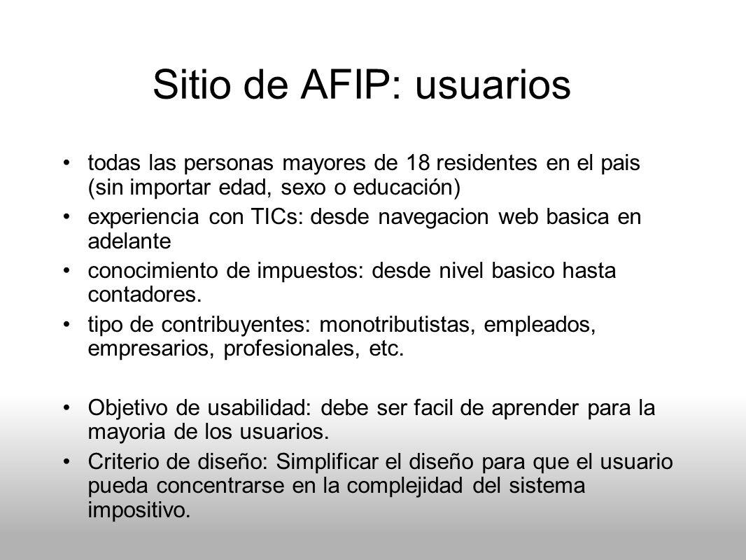 Sitio de AFIP: usuarios todas las personas mayores de 18 residentes en el pais (sin importar edad, sexo o educación) experiencia con TICs: desde naveg