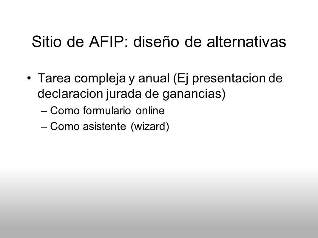 Sitio de AFIP: diseño de alternativas Tarea compleja y anual (Ej presentacion de declaracion jurada de ganancias) –Como formulario online –Como asiste