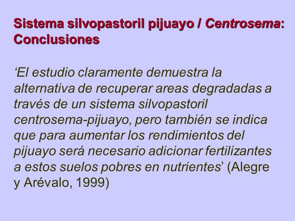 Sistema silvopastoril pijuayo / Centrosema: Conclusiones El estudio claramente demuestra la alternativa de recuperar areas degradadas a través de un s