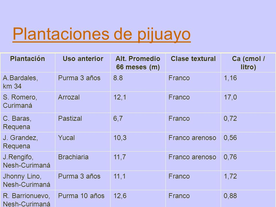 Plantaciones de pijuayo PlantaciónUso anteriorAlt. Promedio 66 meses (m) Clase texturalCa (cmol / litro) A.Bardales, km 34 Purma 3 años8.8Franco1,16 S
