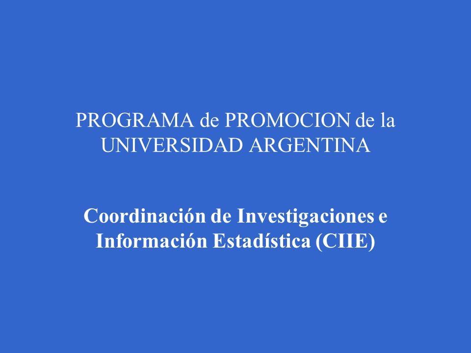 PROGRAMA de PROMOCION de la UNIVERSIDAD ARGENTINA Coordinación de Investigaciones e Información Estadística (CIIE)