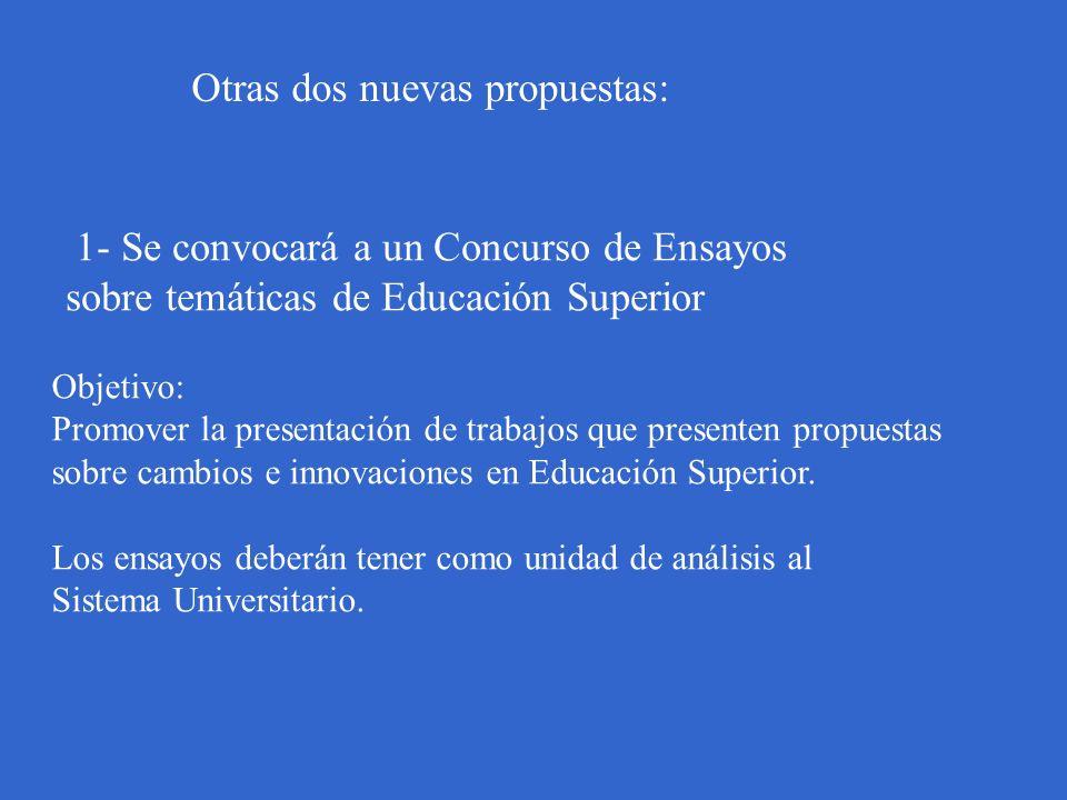 Otras dos nuevas propuestas: 1- Se convocará a un Concurso de Ensayos sobre temáticas de Educación Superior Objetivo: Promover la presentación de trab
