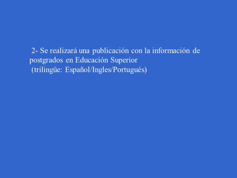 2- Se realizará una publicación con la información de postgrados en Educación Superior (trilingüe: Español/Ingles/Portugués)