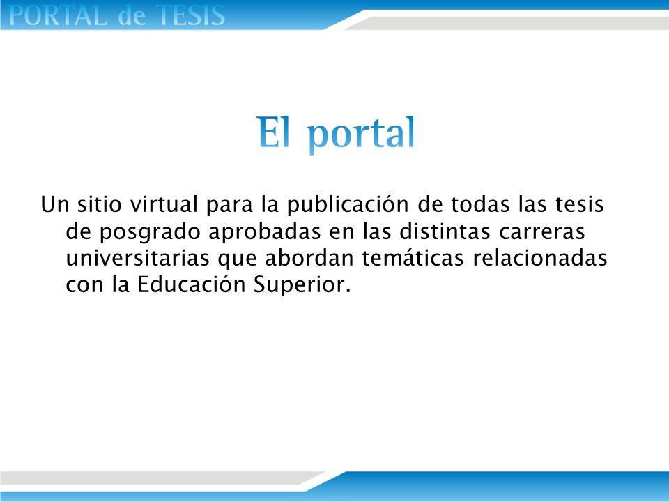 Un sitio virtual para la publicación de todas las tesis de posgrado aprobadas en las distintas carreras universitarias que abordan temáticas relaciona