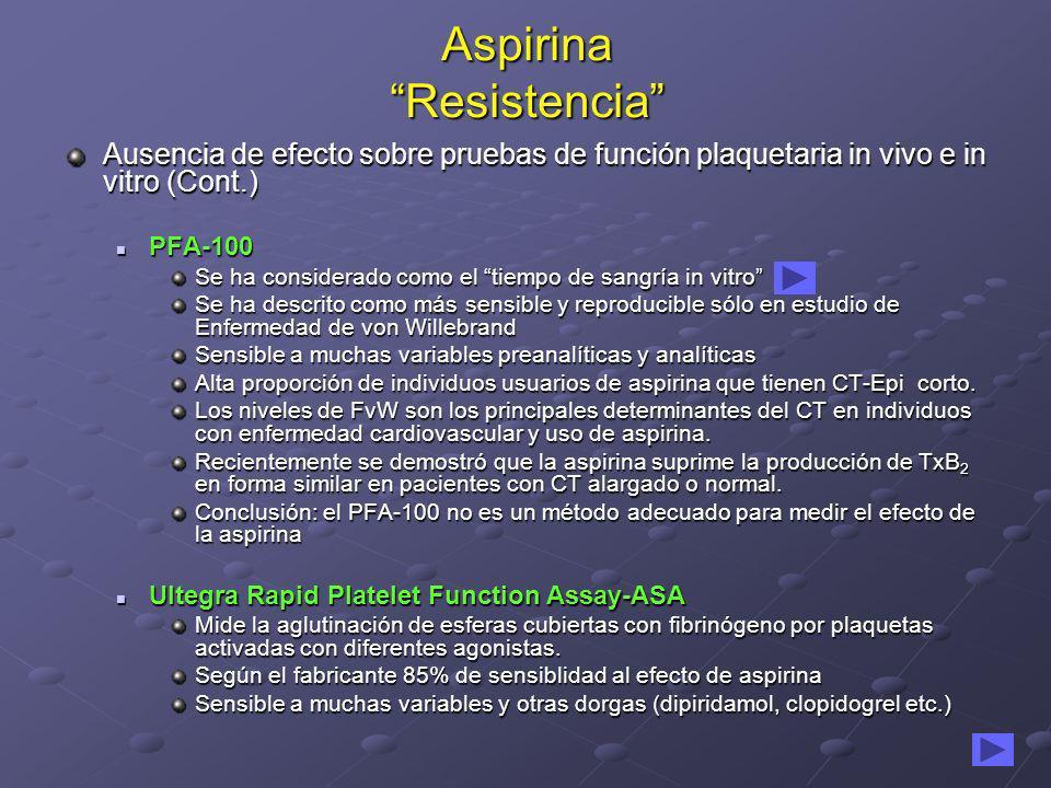 Aspirina Resistencia Ausencia de efecto sobre pruebas de función plaquetaria in vivo e in vitro (Cont.) PFA-100 PFA-100 Se ha considerado como el tiem