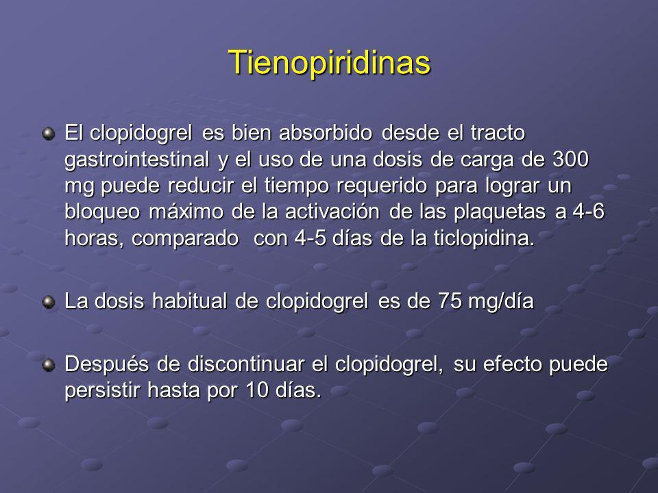 Tienopiridinas El clopidogrel es bien absorbido desde el tracto gastrointestinal y el uso de una dosis de carga de 300 mg puede reducir el tiempo requ