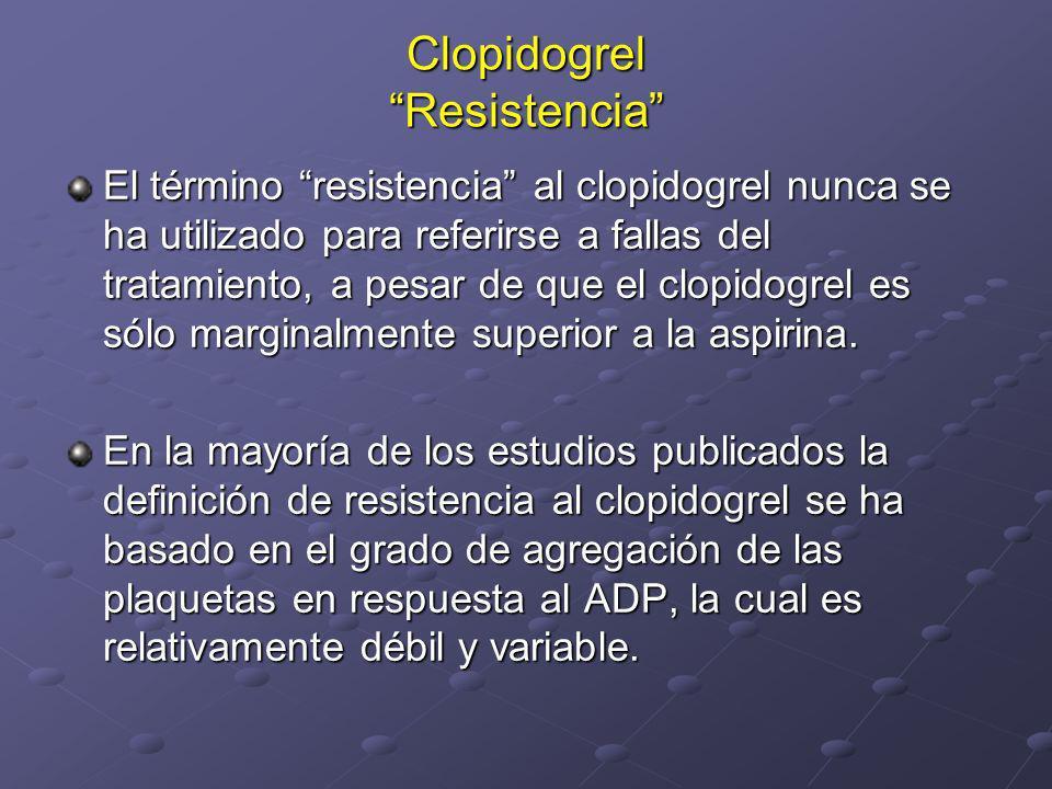 Clopidogrel Resistencia El término resistencia al clopidogrel nunca se ha utilizado para referirse a fallas del tratamiento, a pesar de que el clopido
