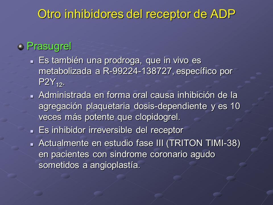 Otro inhibidores del receptor de ADP Prasugrel Es también una prodroga, que in vivo es metabolizada a R-99224-138727, específico por P2Y 12. Es tambié