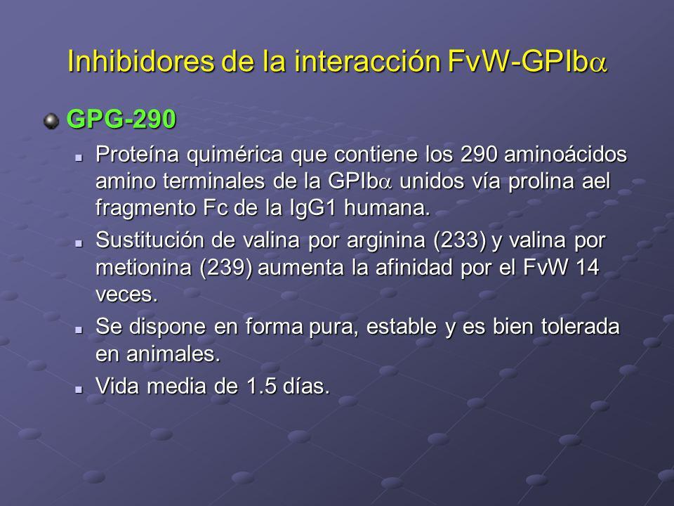 Inhibidores de la interacción FvW-GPIb Inhibidores de la interacción FvW-GPIb GPG-290 Proteína quimérica que contiene los 290 aminoácidos amino termin