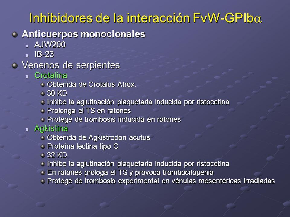 Inhibidores de la interacción FvW-GPIb Inhibidores de la interacción FvW-GPIb Anticuerpos monoclonales AJW200 AJW200 IB-23 IB-23 Venenos de serpientes