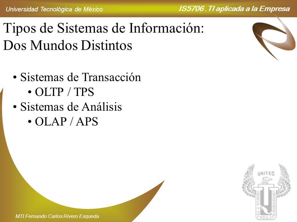 IS5706.TI aplicada a la Empresa Universidad Tecnológica de México MTI Fernando Carlos Rivero Esqueda Tipos de Sistemas de Información: Dos Mundos Dist