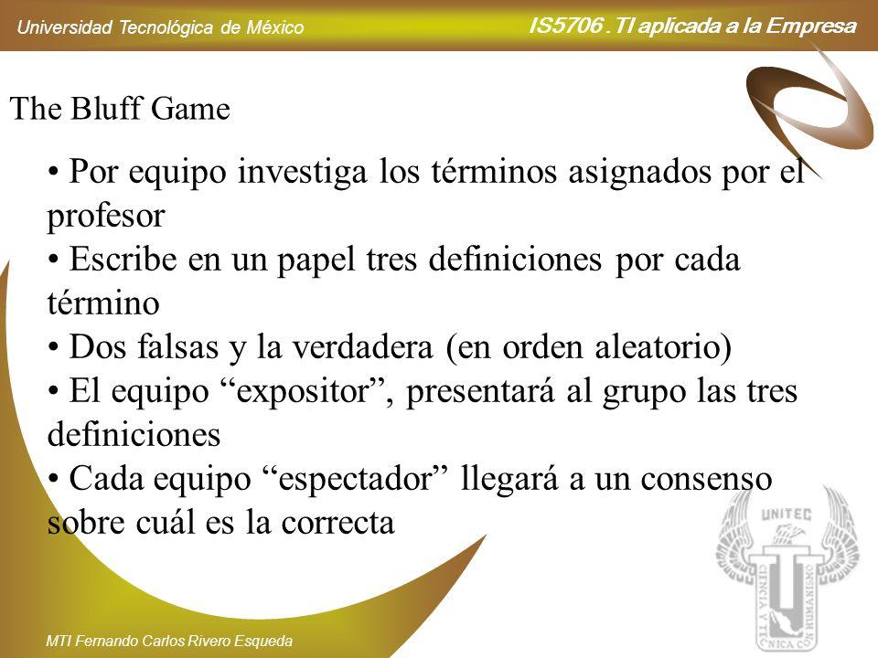 IS5706.TI aplicada a la Empresa Universidad Tecnológica de México MTI Fernando Carlos Rivero Esqueda The Bluff Game Por equipo investiga los términos