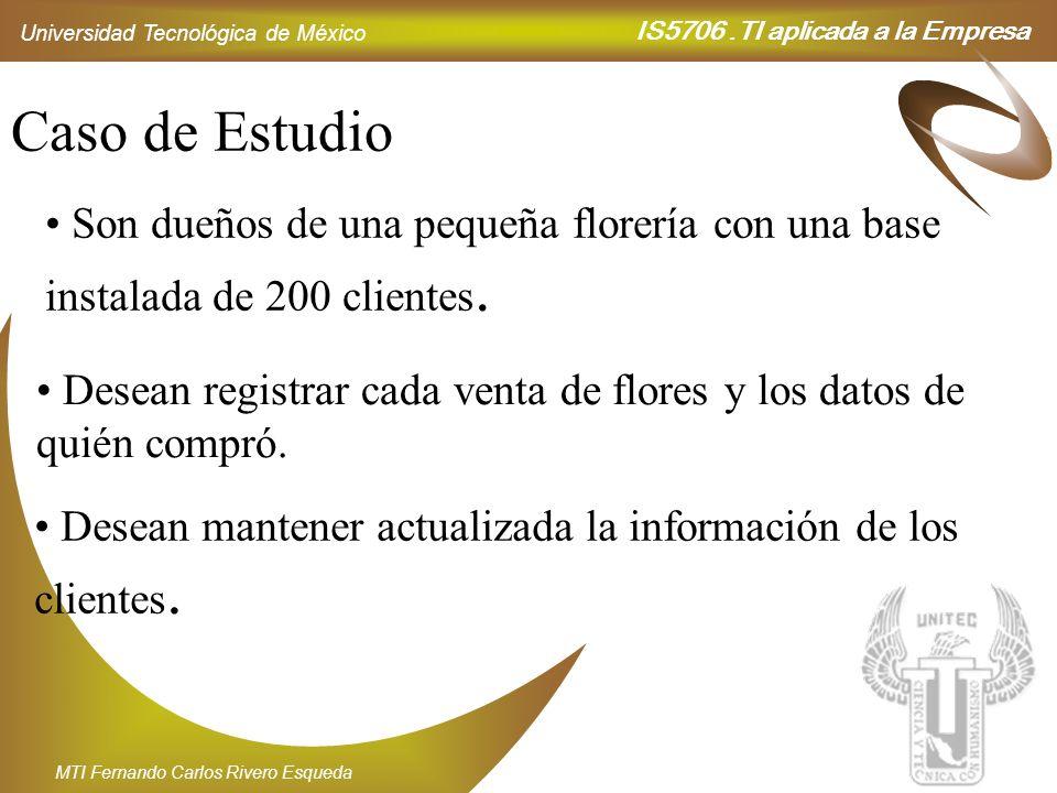 IS5706.TI aplicada a la Empresa Universidad Tecnológica de México MTI Fernando Carlos Rivero Esqueda Caso de Estudio Son dueños de una pequeña florerí