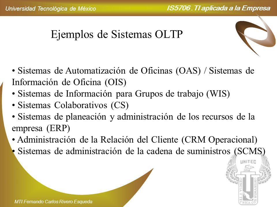 IS5706.TI aplicada a la Empresa Universidad Tecnológica de México MTI Fernando Carlos Rivero Esqueda Ejemplos de Sistemas OLTP Sistemas de Automatizac