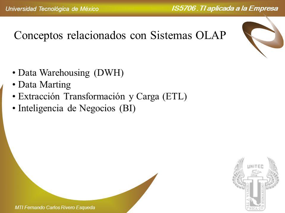 IS5706.TI aplicada a la Empresa Universidad Tecnológica de México MTI Fernando Carlos Rivero Esqueda Conceptos relacionados con Sistemas OLAP Data War