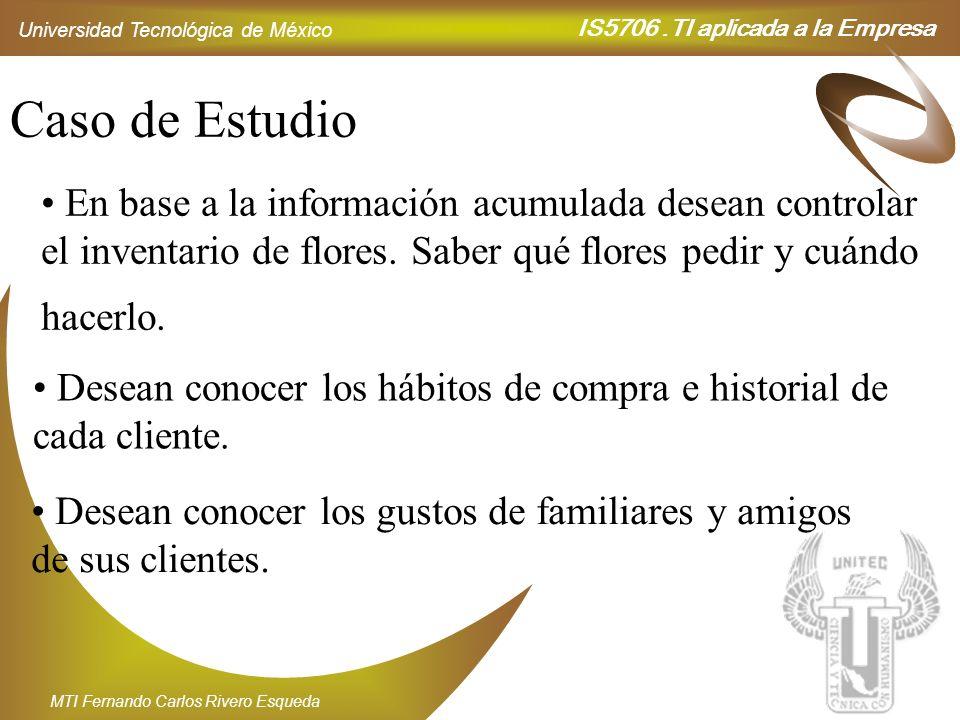IS5706.TI aplicada a la Empresa Universidad Tecnológica de México MTI Fernando Carlos Rivero Esqueda Caso de Estudio En base a la información acumulad