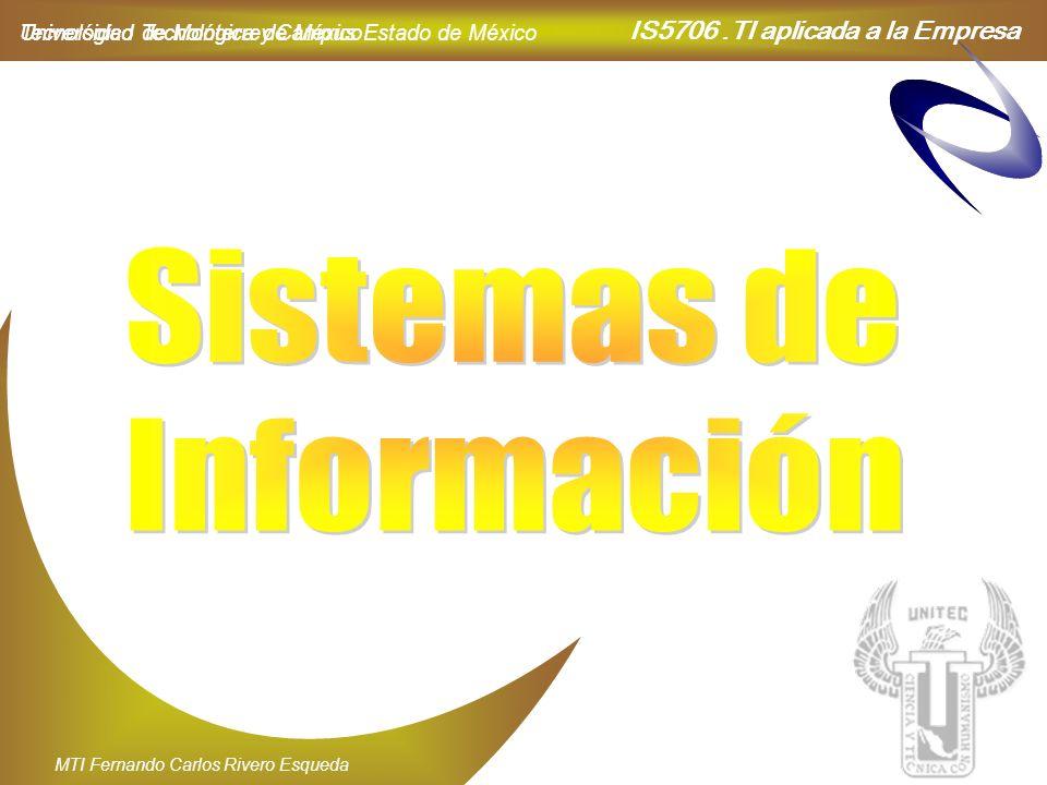 IS5706.TI aplicada a la Empresa Universidad Tecnológica de México MTI Fernando Carlos Rivero Esqueda Tecnológico de Monterrey Campus Estado de México
