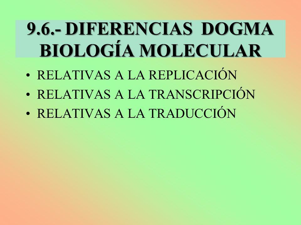 9.6.- DIFERENCIAS DOGMA BIOLOGÍA MOLECULAR RELATIVAS A LA REPLICACIÓN RELATIVAS A LA TRANSCRIPCIÓN RELATIVAS A LA TRADUCCIÓN