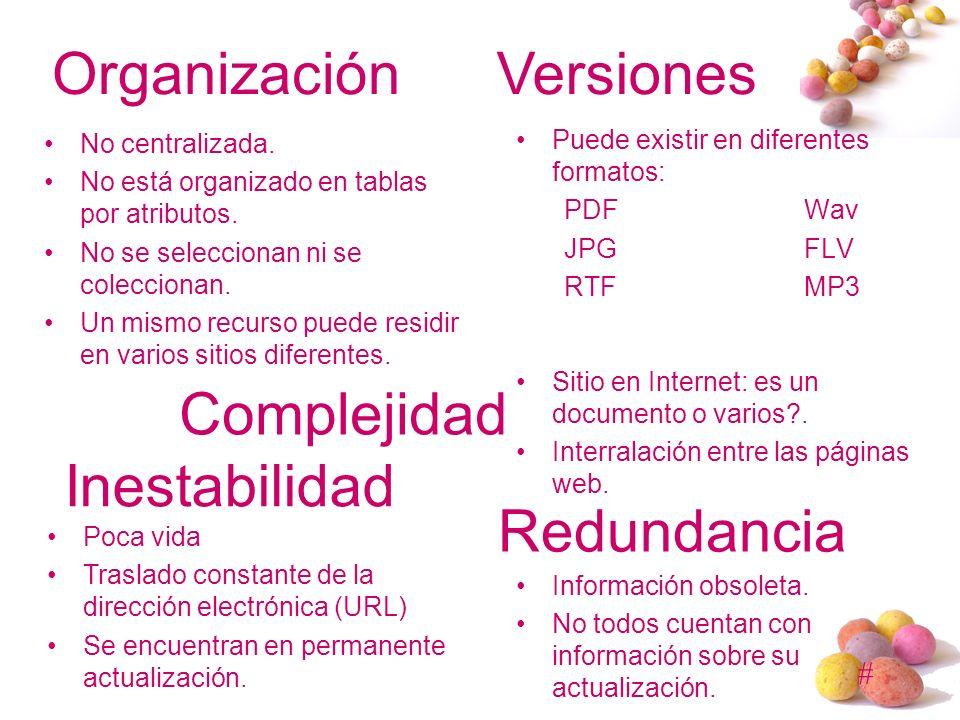 # Organización No centralizada. No está organizado en tablas por atributos. No se seleccionan ni se coleccionan. Un mismo recurso puede residir en var