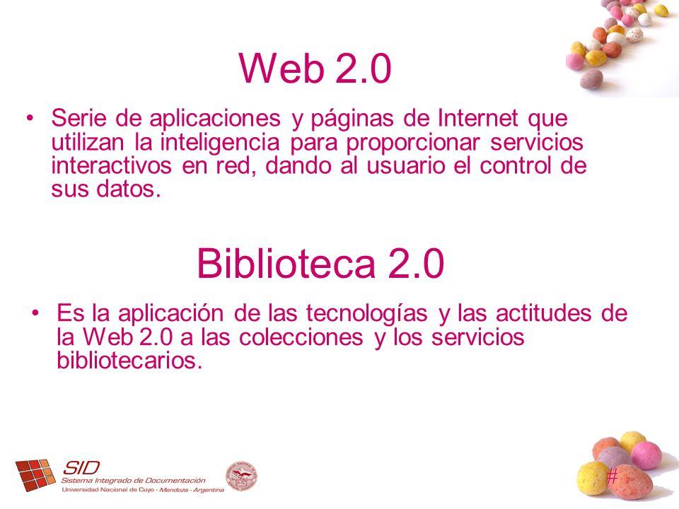 # Web 2.0 Serie de aplicaciones y páginas de Internet que utilizan la inteligencia para proporcionar servicios interactivos en red, dando al usuario e