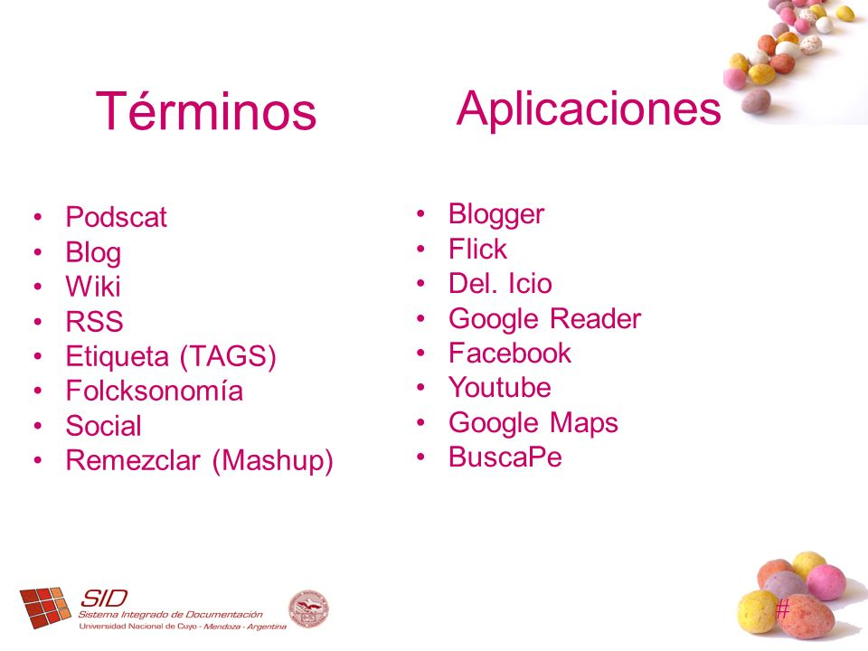 # Términos Podscat Blog Wiki RSS Etiqueta (TAGS) Folcksonomía Social Remezclar (Mashup) Aplicaciones Blogger Flick Del. Icio Google Reader Facebook Yo