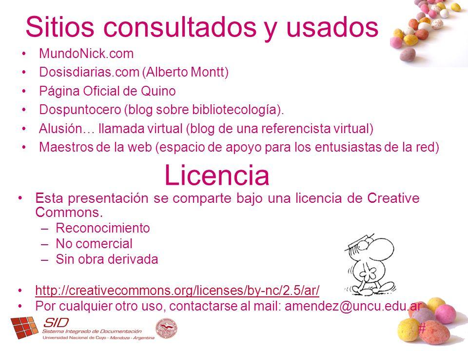 # Licencia Esta presentación se comparte bajo una licencia de Creative Commons. –Reconocimiento –No comercial –Sin obra derivada http://creativecommon