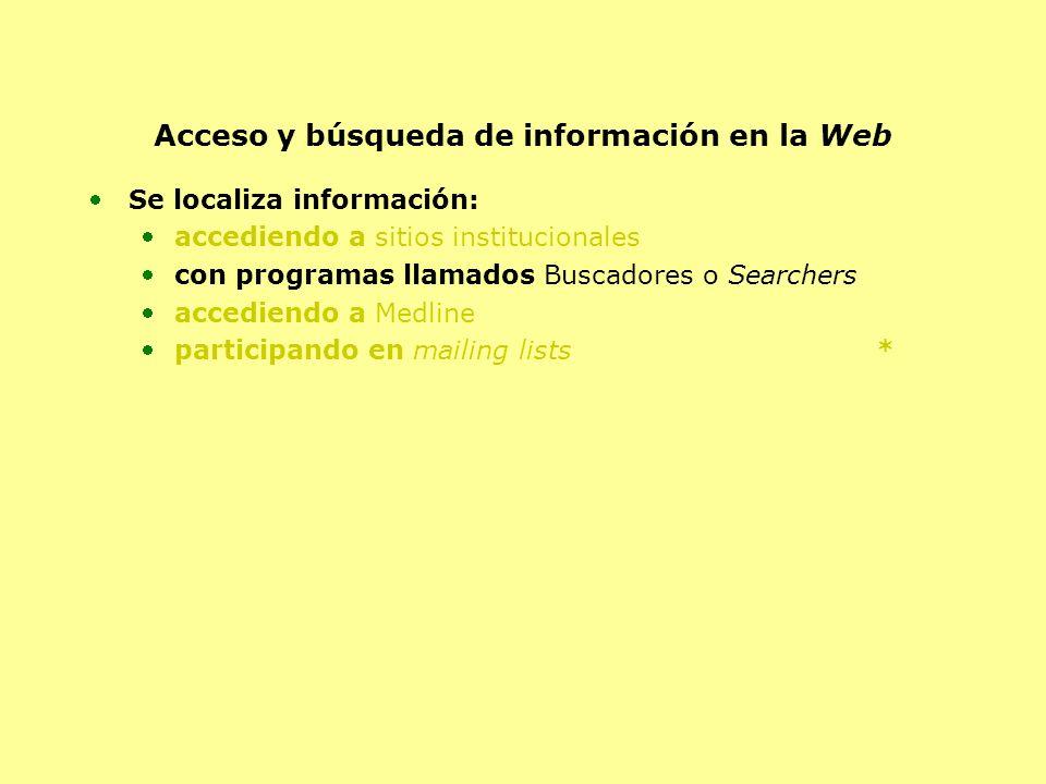 Acceso y búsqueda de información en la Web Se localiza información: accediendo a sitios institucionales con programas llamados Buscadores o Searchers