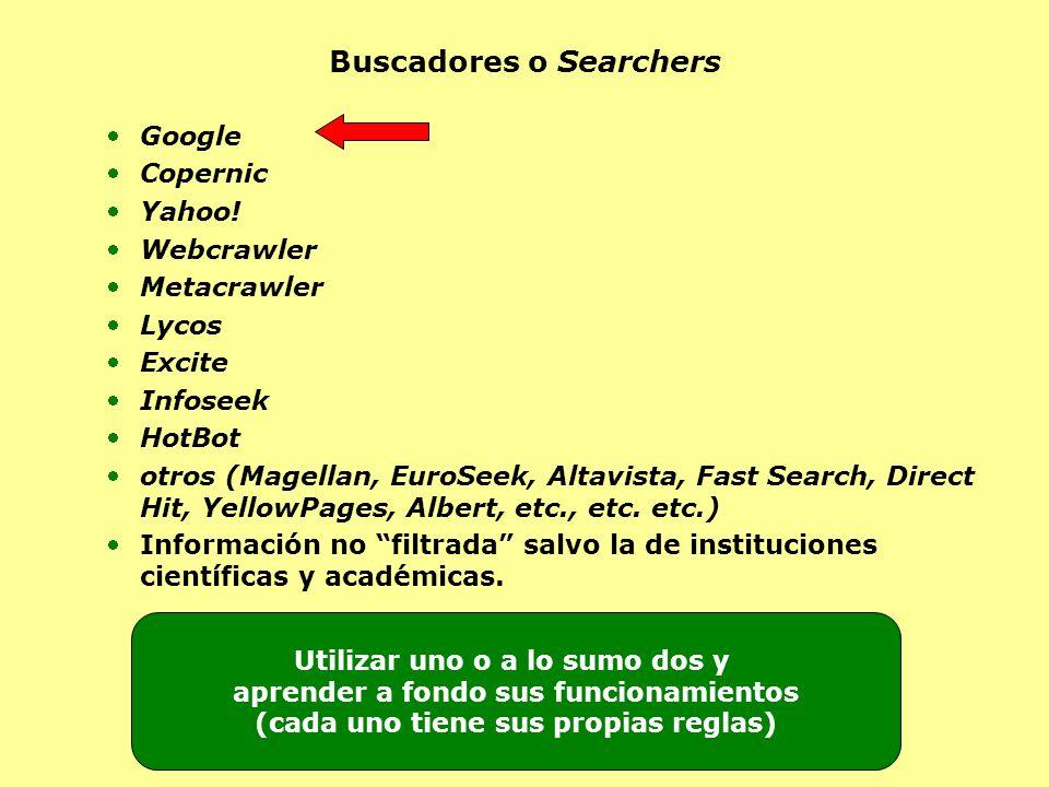 Buscadores o Searchers Google Copernic Yahoo! Webcrawler Metacrawler Lycos Excite Infoseek HotBot otros (Magellan, EuroSeek, Altavista, Fast Search, D