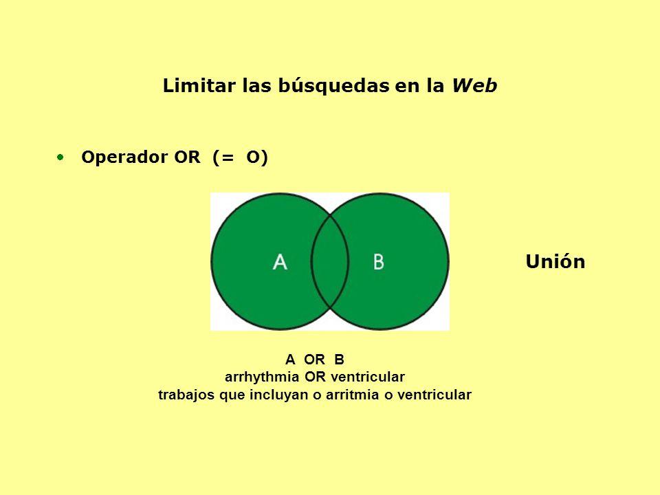 Operador OR (= O) A OR B arrhythmia OR ventricular trabajos que incluyan o arritmia o ventricular Limitar las búsquedas en la Web Unión