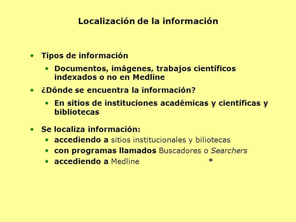 Localización de la información Tipos de información Documentos, imágenes, trabajos científicos indexados o no en Medline ¿Dónde se encuentra la inform