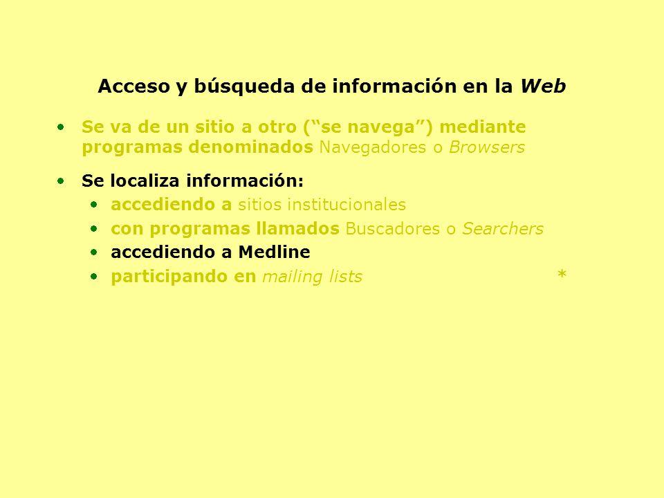 Acceso y búsqueda de información en la Web Se va de un sitio a otro (se navega) mediante programas denominados Navegadores o Browsers Se localiza info