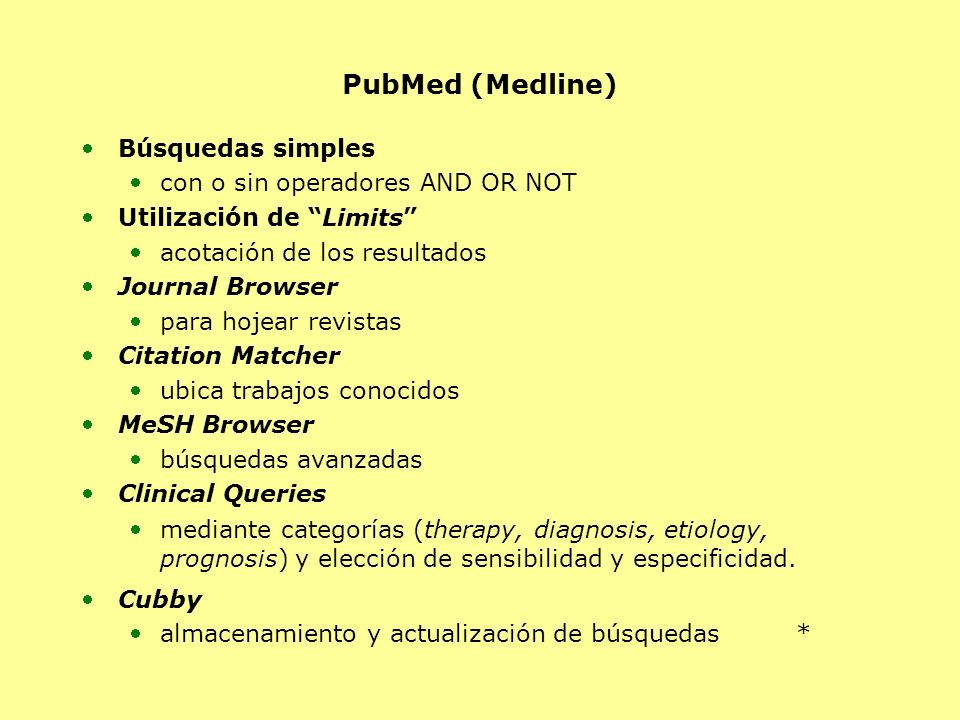 PubMed (Medline) Búsquedas simples con o sin operadores AND OR NOT Utilización de Limits acotación de los resultados Journal Browser para hojear revis