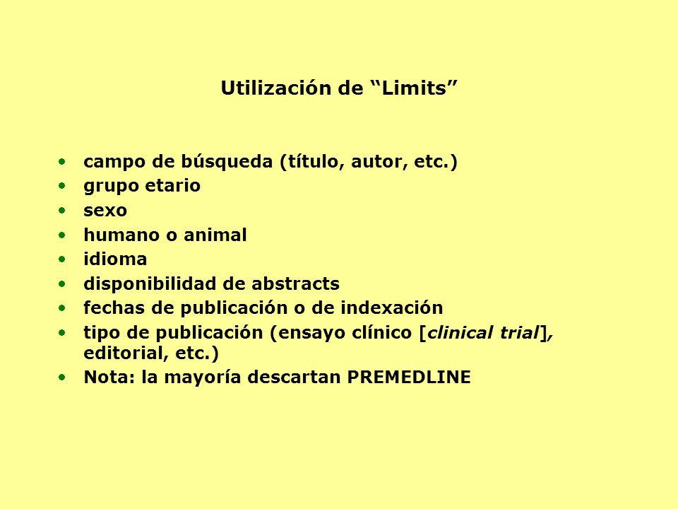Utilización de Limits campo de búsqueda (título, autor, etc.) grupo etario sexo humano o animal idioma disponibilidad de abstracts fechas de publicaci