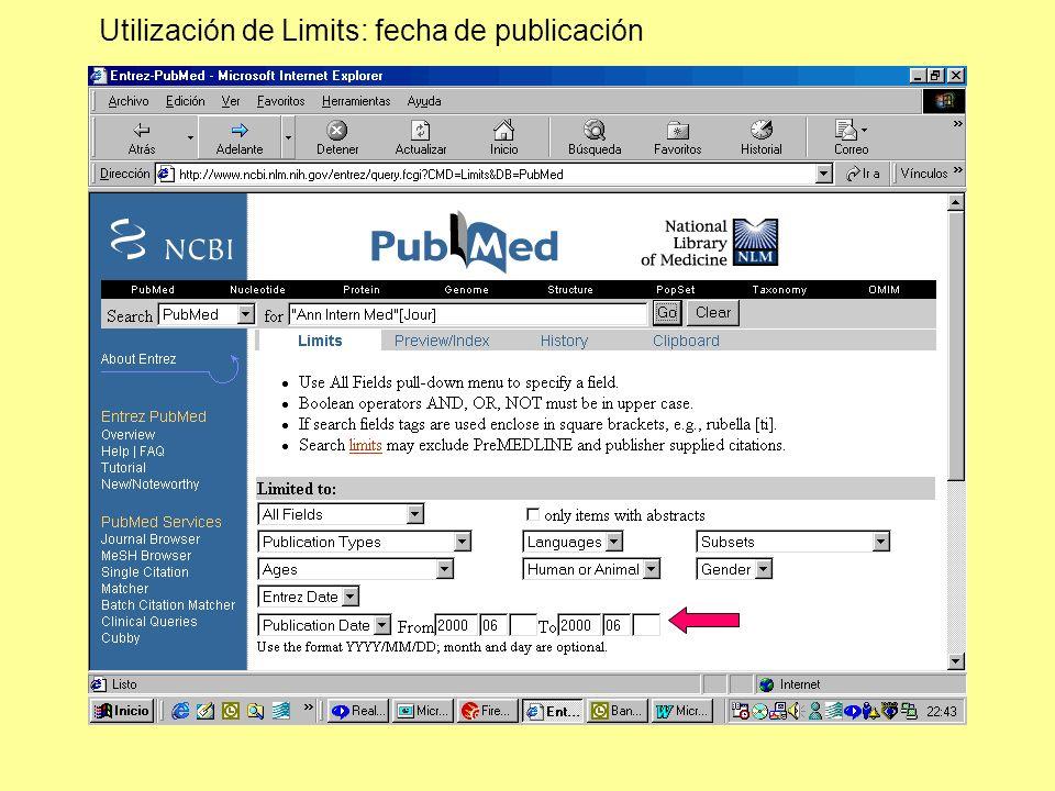 Utilización de Limits: fecha de publicación