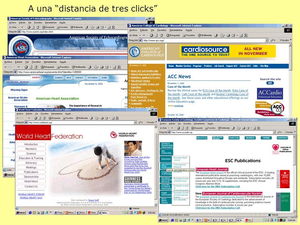 A una distancia de tres clicks