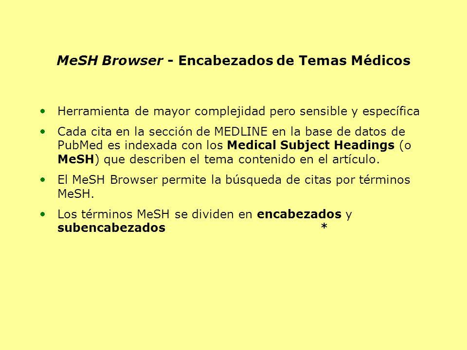 MeSH Browser - Encabezados de Temas Médicos Herramienta de mayor complejidad pero sensible y específica Cada cita en la sección de MEDLINE en la base