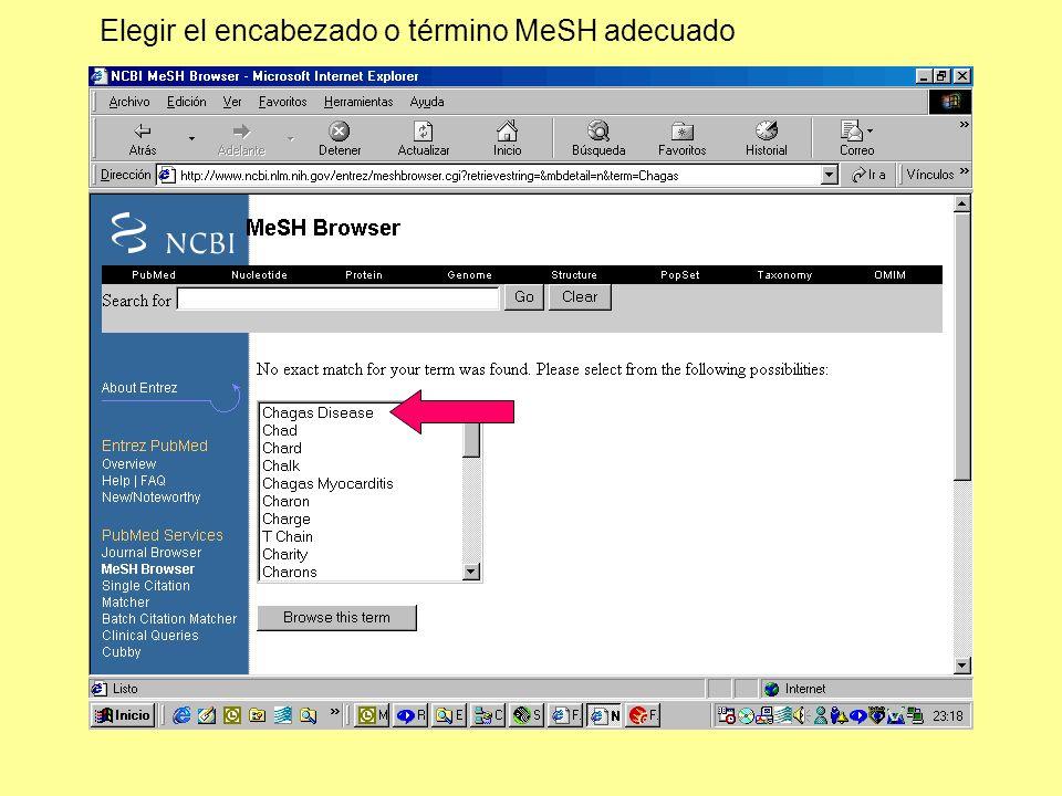 Elegir el encabezado o término MeSH adecuado