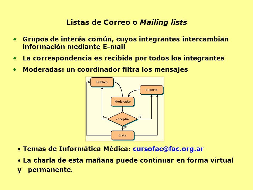 Listas de Correo o Mailing lists Grupos de interés común, cuyos integrantes intercambian información mediante E-mail La correspondencia es recibida po