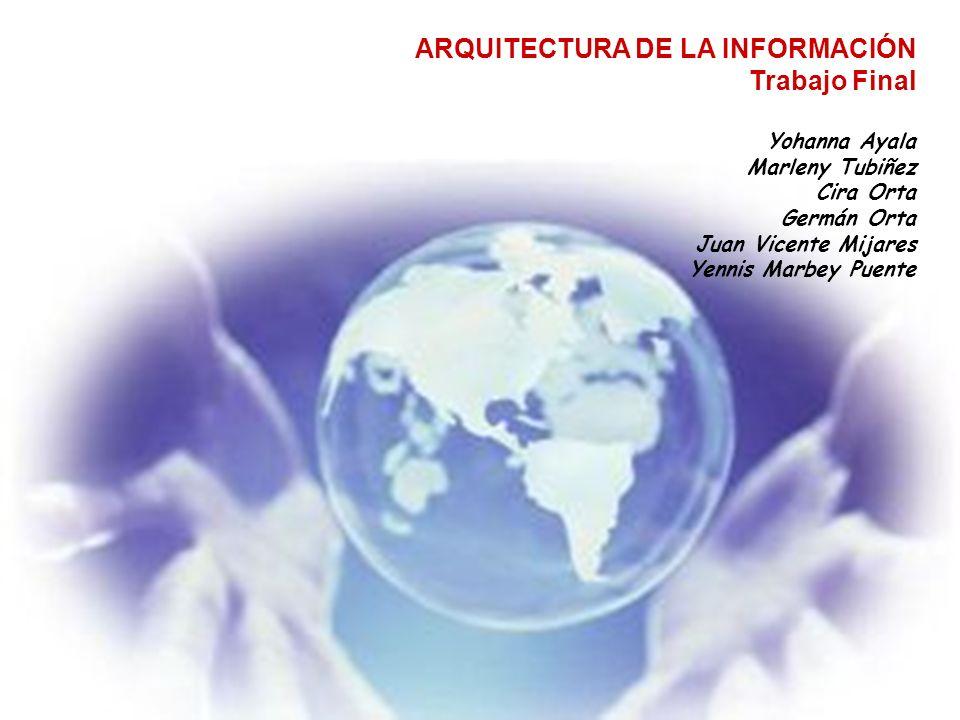 ARQUITECTURA DE LA INFORMACIÓN Trabajo Final Yohanna Ayala Marleny Tubiñez Cira Orta Germán Orta Juan Vicente Mijares Yennis Marbey Puente