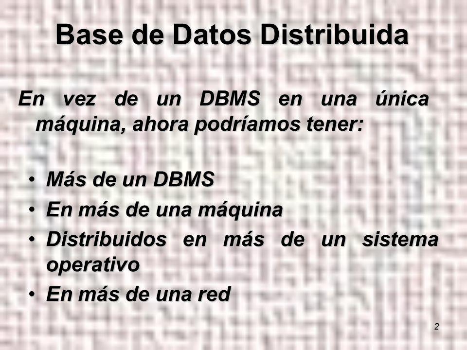 2 Más de un DBMSMás de un DBMS En más de una máquinaEn más de una máquina Distribuidos en más de un sistema operativoDistribuidos en más de un sistema operativo En más de una redEn más de una red En vez de un DBMS en una única máquina, ahora podríamos tener: Base de Datos Distribuida