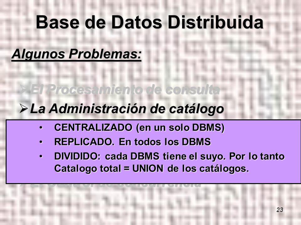 23 Algunos Problemas: El Procesamiento de consulta El Procesamiento de consulta La Administración de catálogo La Administración de catálogo La Propagación de las actualizaciones o Replicas La Propagación de las actualizaciones o Replicas El Control de Recuperabilidad El Control de Recuperabilidad El Control de concurrencia El Control de concurrencia Base de Datos Distribuida CENTRALIZADO (en un solo DBMS)CENTRALIZADO (en un solo DBMS) REPLICADO.