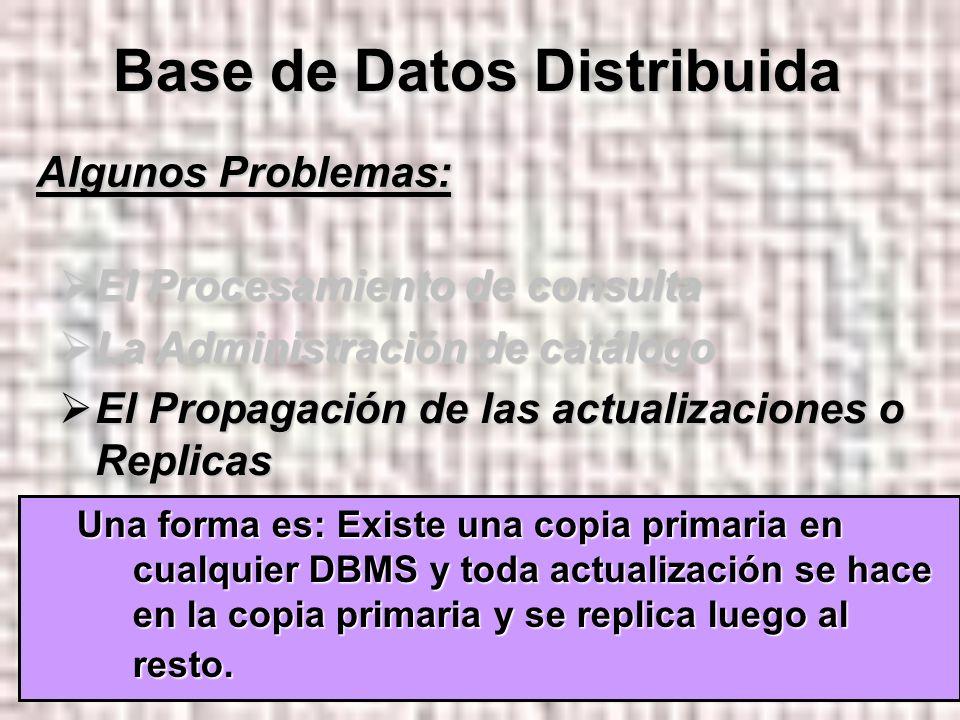 24 Algunos Problemas: El Procesamiento de consulta El Procesamiento de consulta La Administración de catálogo La Administración de catálogo El Propagación de las actualizaciones o Replicas El Propagación de las actualizaciones o Replicas El Control de Recuperabilidad El Control de Recuperabilidad El Control de concurrencia El Control de concurrencia Base de Datos Distribuida Una forma es: Existe una copia primaria en cualquier DBMS y toda actualización se hace en la copia primaria y se replica luego al resto.