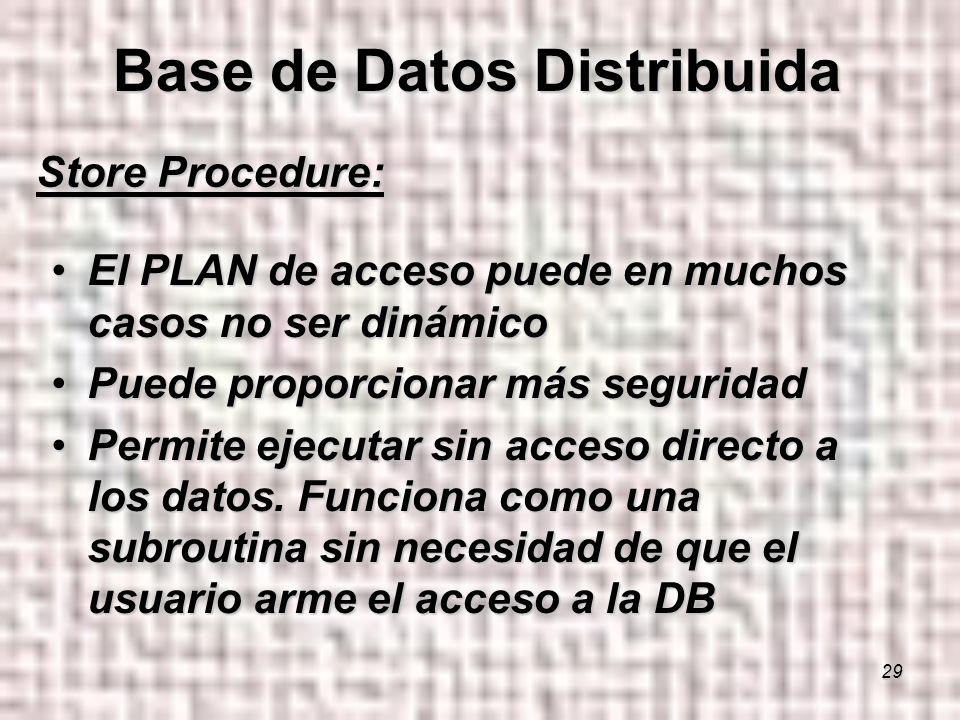 29 Store Procedure: El PLAN de acceso puede en muchos casos no ser dinámicoEl PLAN de acceso puede en muchos casos no ser dinámico Puede proporcionar más seguridadPuede proporcionar más seguridad Permite ejecutar sin acceso directo a los datos.