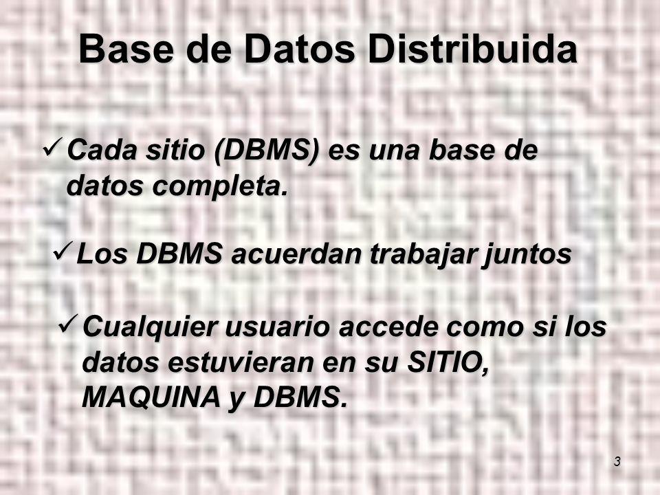 3 Cada sitio (DBMS) es una base de datos completa.