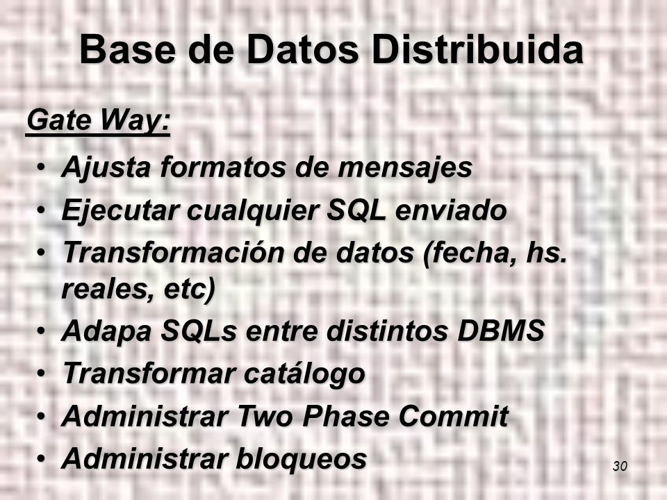 30 Gate Way: Ajusta formatos de mensajesAjusta formatos de mensajes Ejecutar cualquier SQL enviadoEjecutar cualquier SQL enviado Transformación de datos (fecha, hs.